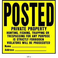 Hy-Ko - Sign Posted Private - Yellow - 11 x 11 Inch