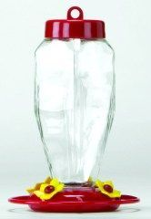 Gardner Equipment - Glass Hummingbird Feeder - Red - 24 oz