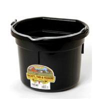 Miller Mfg - Flat Back Plastic Bucket - Black - 8 Quart