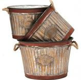 Deer Park Ironworks - Wide Corrugated Oval Tub Planters Set - Natural Patina