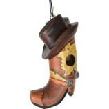 Songbird Essentials - Gordo Cowboy Boot W/Hat Birdhouse - 3X7X10