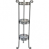 DEER PARK IRONWORKS - 3 TIER PLANT STAND WITH TRAYS-BLACK-