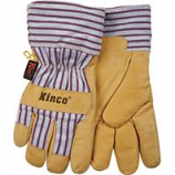 Kinco International - Lined Grain Pigskin Glove - Tan/Blue/Red - Medium