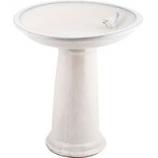 Esschert Design Usa - Ceramic Bird Bath On Pedestal With Bird - White