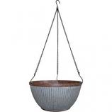 Southern Patio - Westlake Hanging Basket Planter - Galvanized - 12 Inch