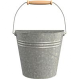 Panacea Products - Half Round Wall Buckets With Wood Handles - Galvanized - 10.3X5.3X8.6