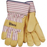 Kinco International - Grain Pigskin Leather Palm Glove - Tan/Blue/Red - Medium