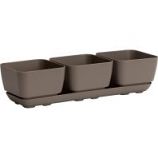 Novelty Mfg - Herb Trio with Attached Tray - Taupe - 4 Inch