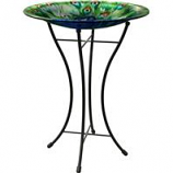 Panacea Products - Peacock Glass Bird Bath With Stand - Peacock - 16 Inch