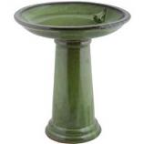 Esschert Design Usa - Ceramic Bird Bath On Pedestal With Bird - Green