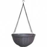 Southern Patio - Jamaica Wicker Hanging Basket With Metal Display - Brown - 12 Inch
