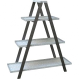 Panacea Products - Vintage Ladder A-Frame Stand W/ Galv Shelves