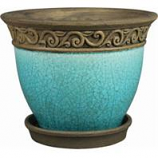 Southern Patio - Clayworks Cadiz Planter - Teal - 8 In