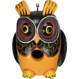 Songbird Essentials - Gordo Fall Colors Owl Birdhouse - 5X5.5X7.5