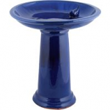 Esschert Design Usa - Ceramic Bird Bath On Pedestal With Bird - Blue