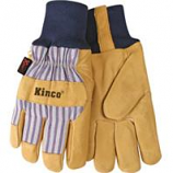 Kinco International - Lined Suede Pigskin Knit Wrist Glove - Tan/Blue/Red - Medium