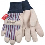 Kinco International - Lined Ultra Suede Knit Wrist Glove - Gray/Blue/Red - Child