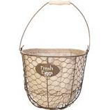 Panacea Products - Egg Gathering Basket/Planter With Burlap Liner - Rust W/Burlap - 10 X 8