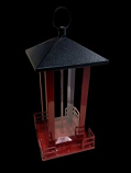Heath - Red Metal Black Roof Bird Feeder - Red -
