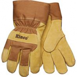 Kinco International - Lined Suede Pigskin Glove - Tan & Brown - Medium
