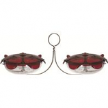 Droll Yankees - Ruby Sipper Duo Hanging Hummingbird Feeder - Red - 11 In