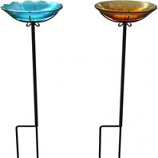 Panacea Products - Flower Glass Birdbath With Stake - Sun/Wild Flower - 10 Inch