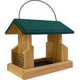 Welliver Outdoors - Hopper Feeder Deluxe Cedar With Suet Holders - Natural/Green - 13X7.25X10.75
