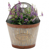 DEER PARK IRONWORKS - WIDE CORRUGATED WALL PLANTER FLOWERS AND GARDEN-GALVANIZED-