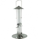 Audubon/Woodlink - Galvanized Silo Clear Tube Seed Feeder - Nickel - 1.5 Lb